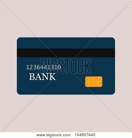 Credit card isolated debit bank chip commerce vector illustration. Business money shopping buy finance plastic payment credit card.