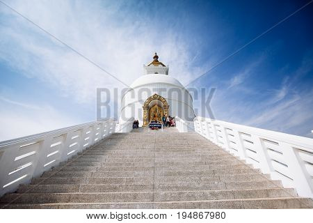 World Peace Pagoda In Pokhara, Nepal.