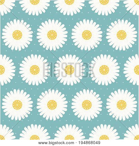 Seamless pattern of daisies continuous pattern. Heavenly blue background with white dots.