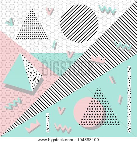 background with geometric shapes, the design of the 80s - vector illustration. In retro memphis group style card