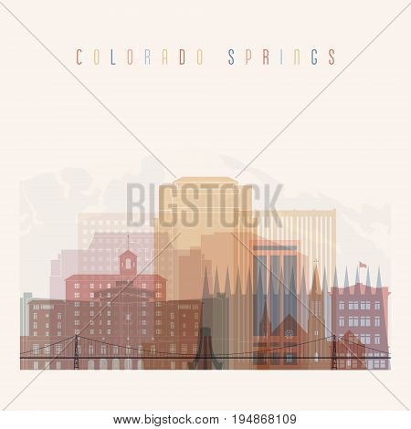 Colorado Springs state Colorado skyline detailed silhouette. Transparent style. Trendy vector illustration.