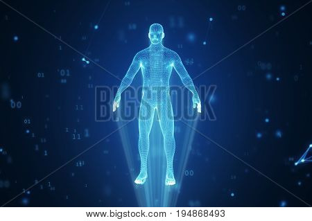 Human Hologram From Points And Polygons In A Cloud Of Binary Code And Connections 3D Illustration