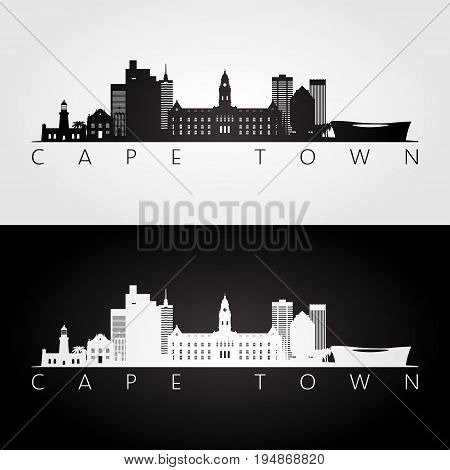 Cape Town skyline and landmarks silhouette black and white design vector illustration.