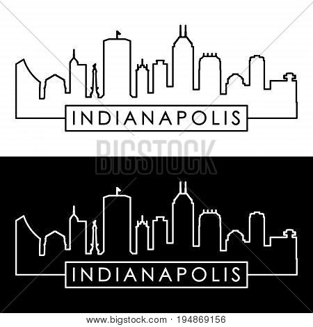 Indianapolis skyline. Linear style. Editable vector file.