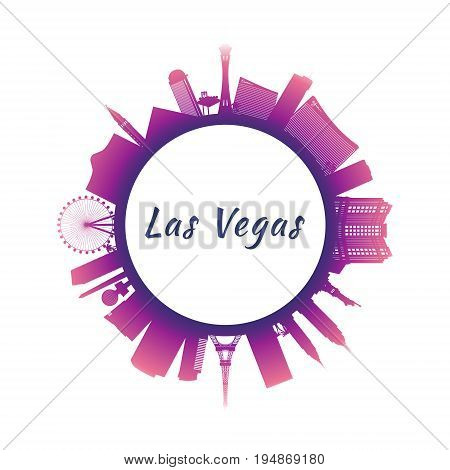 Silhouette Las Vegas Skyline with colorful Buildings. Image for Presentation Banner Placard and Website. Circle style. Vector illustration.