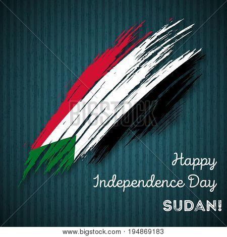 Sudan Independence Day Patriotic Design. Expressive Brush Stroke In National Flag Colors On Dark Str