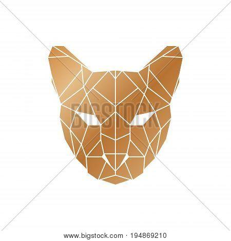 Polygonal orange puma head. Wild animal icon.