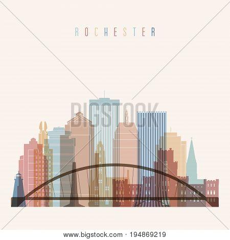 Rochester state New York skyline detailed silhouette. Transparent style. Trendy vector illustration.