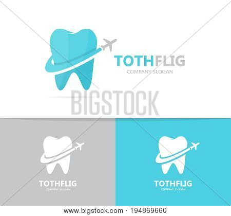 tooth and airplane logo combination. Dental and travel symbol or icon. Unique clinic and flight logotype design template.