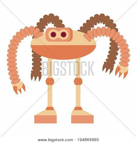 Robot octopus icon. Cartoon illustration of robot octopus vector icon for web isolated on white background