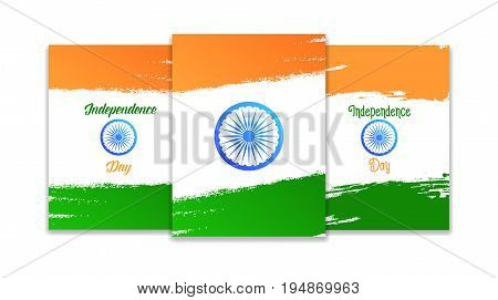India Independence Day. Template set for cards, invitations, flyers for India national holidays. 15th of August India Independence Day