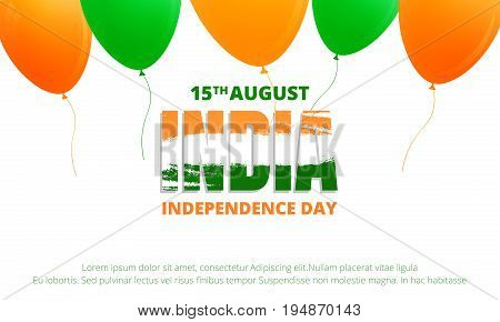 Banner for India Independence Day . Banner with buntings of India flag and typographic logo for India national holiday. 15th of August Independence Day