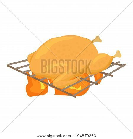 Chiken cooked on a barbecue icon. Cartoon illustration of chiken cooked on a barbecue vector icon for web isolated on white background