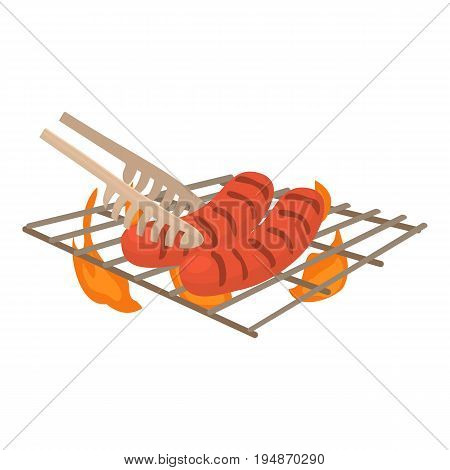 Cooking sausage on bbq icon. Cartoon illustration of cooking sausage on bbq vector icon for web isolated on white background