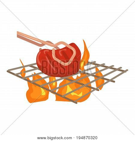 Cooking beef on barbecue icon. Cartoon illustration of cooking beef on barbecue vector icon for web isolated on white background