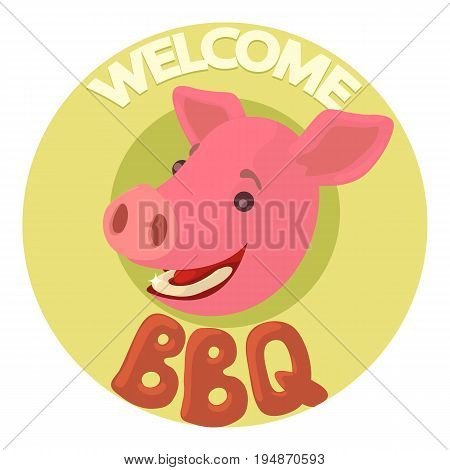 Welcome invitation to barbecue icon. Cartoon illustration of welcome invitation to barbecue vector icon for web isolated on white background