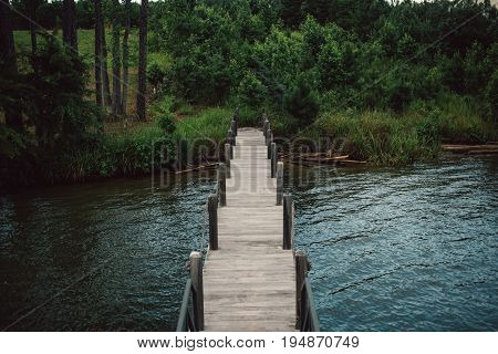 View of empty boat deck or dock leading from lake to forest