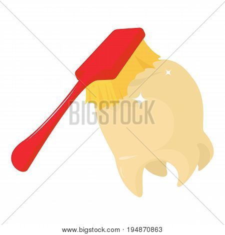 Toothbrush cleans tooth icon. Cartoon illustration of toothbrush cleans tooth vector icon for web isolated on white background