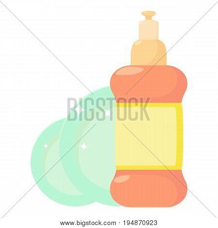 Dischwashing liquid icon. Cartoon illustration of dischwashing liquid vector icon for web isolated on white background