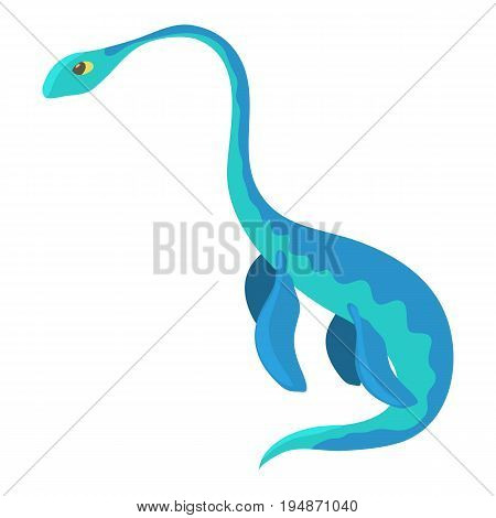 Aquatic dinosaur icon. Cartoon illustration of aquatic dinosaur vector icon for web isolated on white background poster