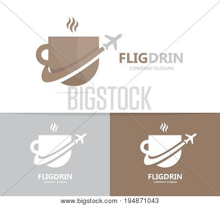 coffee and airplane logo combination. Drink and travel symbol or icon. Unique cup and flight logotype design template.
