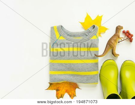 Colorful autumn leaves kids rain boots stripe sweater toy dinosaurs. Autumn background. Thanksgiving day concept. Autumn outfit. Flat lay top view with copy space.