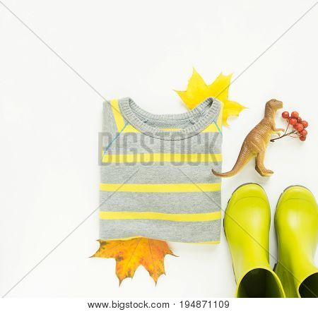 Colorful autumn leaves kids rain boots stripe sweater toy dinosaurs. Autumn background. Thanksgiving day concept. Autumn outfit. Flat lay top view