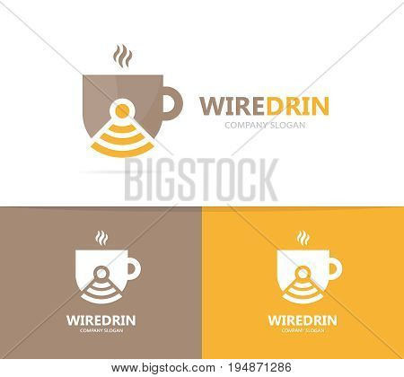 coffee and wifi logo combination. Drink and signal symbol or icon. Unique cup and radio, internet logotype design template.