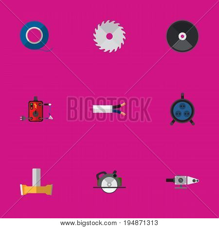 Set Of 9 Editable Instruments Icons. Includes Symbols Such As Grinder, Cable, Receptacle And More. Can Be Used For Web, Mobile, UI And Infographic Design.