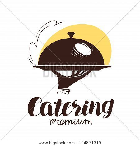 Catering service logo. Icon or label for design menu restaurant or cafe. Waiter holding tray, vector illustration