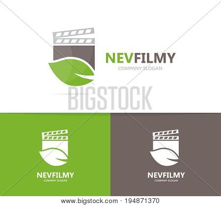 clapperboard and leaf logo combination. Cinema and eco symbol or icon. Unique organic and video logotype design template.