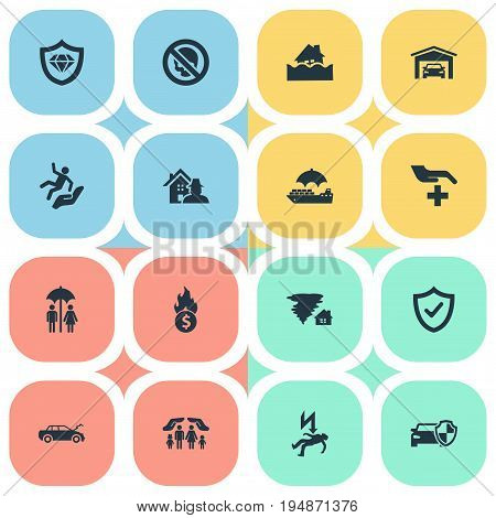 Vector Illustration Set Of Simple Warrant Icons. Elements Electric Shock  Jeopardy, Property Break-In, Safe Shipping And Other Synonyms Insured, Couple And Thief.