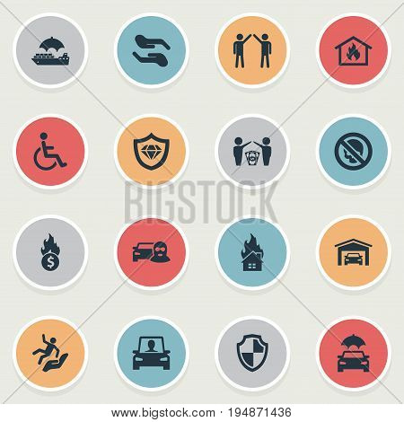 Vector Illustration Set Of Simple Fuse Icons. Elements Driving Licence, Car Thief, Protect Currency And Other Synonyms Medical, Automobile And Flame.