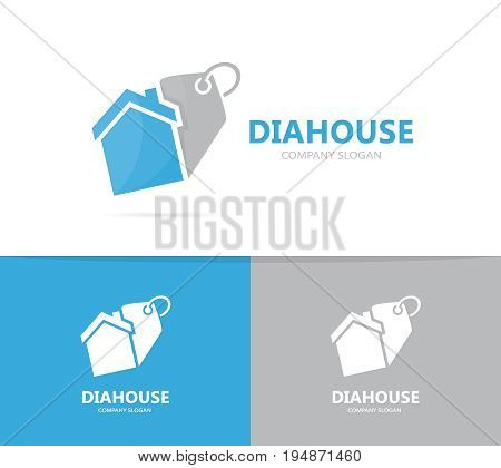 real estate and tag logo combination. House and shop symbol or icon. Unique rent and label logotype design template.