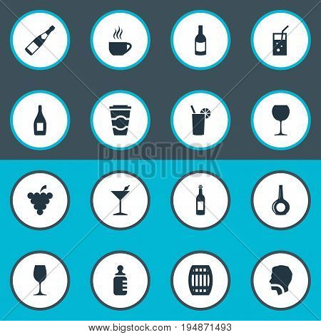Vector Illustration Set Of Simple Drinks Icons. Elements Wine, Hydration, Cocktail And Other Synonyms Baby, Alcohol And Tea.