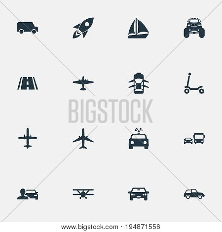 Vector Illustration Set Of Simple Transport Icons. Elements Automobilist, Spaceship, Aero And Other Synonyms Cop, Airbus And Mini.
