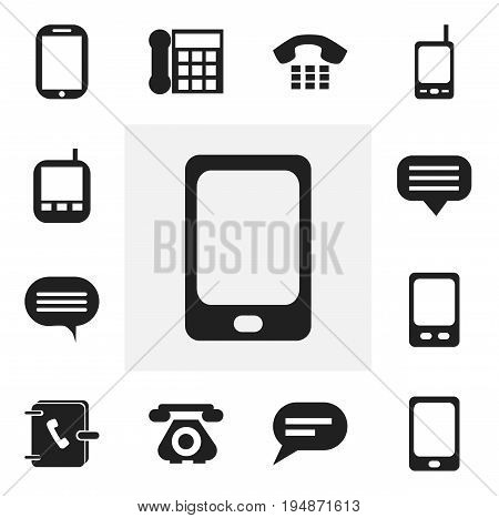 Set Of 12 Editable Phone Icons. Includes Symbols Such As Address Notebook, Telecommunication, Transceiver And More. Can Be Used For Web, Mobile, UI And Infographic Design.