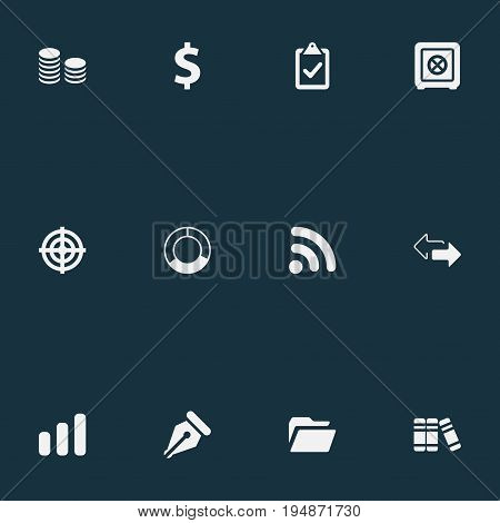 Vector Illustration Set Of Simple Finance Icons. Elements Circle Diagram, Wireless Connection, Literature And Other Synonyms Diagram, Sales And File.