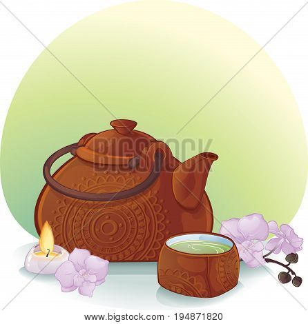 Tea Ceremony Illustration with a Ceramic Teapot and Orchid Flowers. ceramic teapot and a cup with green tea.