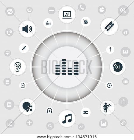 Vector Illustration Set Of Simple Sound Icons. Elements Guitarist, Microphone, Card And Other Synonyms Instrument, Disco And Karaoke.