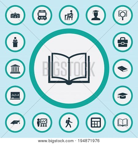 Vector Illustration Set Of Simple Education Icons. Elements Student, Tribune, Books And Other Synonyms Tribune, Courthouse And Research.