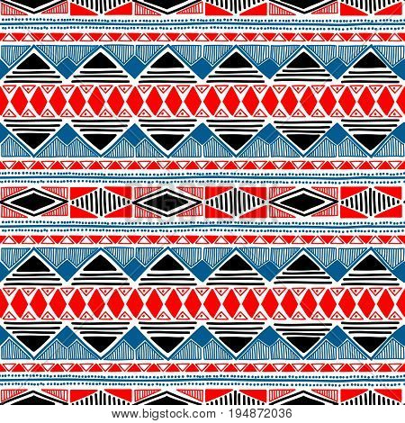 Seamless ethnic pattern. Blue, red, black and white colors. Handmade. Striped summer print. Aztec and tribal motifs. Vector illustration.