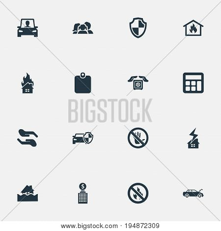 Vector Illustration Set Of Simple Safeguard Icons. Elements Protect From Torrent, Protected Vehicle, Heat And Other Synonyms Collision, Accidence And Economy.