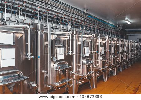 Modern Equipment For Production And Storage Of Wine From Stainless Steel Wine Production Concept