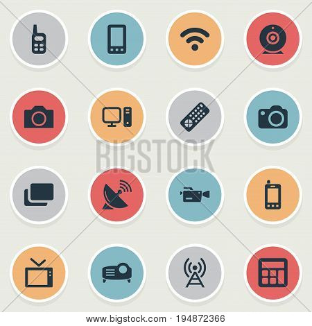 Vector Illustration Set Of Simple Hardware Icons. Elements Television, Desktop, Telecommunication And Other Synonyms Device, Photographing And PC.