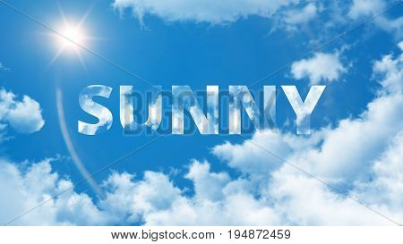 Summer background - blue sky with clouds and a texture with Sunny