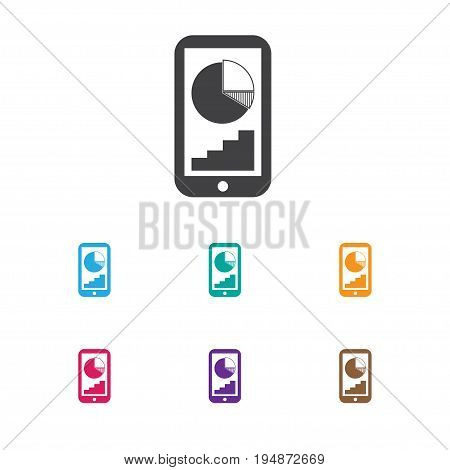 Vector Illustration Of Analytics Symbol On Mobile Analytics Icon. Premium Quality Isolated Phone Statistics Element In Trendy Flat Style.