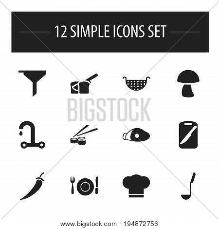 Set Of 12 Editable Meal Icons. Includes Symbols Such As Lamb Leg, Soup Spoon, Bakery And More. Can Be Used For Web, Mobile, UI And Infographic Design.