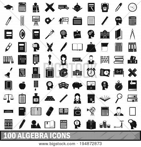 100 algebra icons set in simple style for any design vector illustration