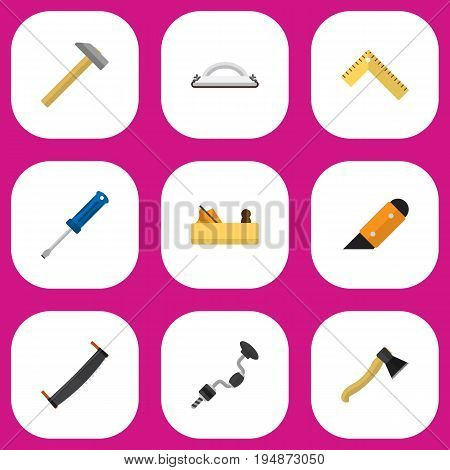 Set Of 9 Editable Instrument Icons. Includes Symbols Such As Emery Paper, Axe, Hammer And More. Can Be Used For Web, Mobile, UI And Infographic Design.